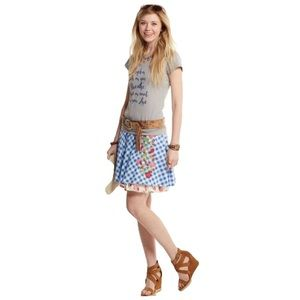 Matilda Jane Dutch apple Plaid Skirt Floral Small